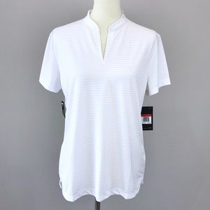 Nike Golf White Striped Short Sleeve Dri-Fit Polo